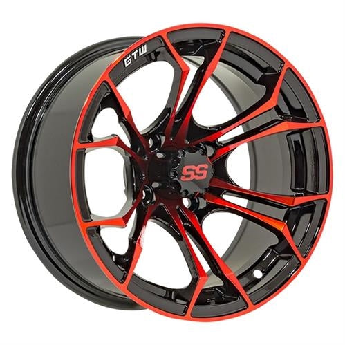 "Set of (4) 12"" Spyder RED on 22"" Timberwolf"