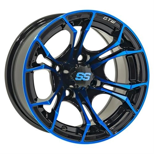 "Set of (4) 12"" Spyder Blue on 22"" Timberwolf"