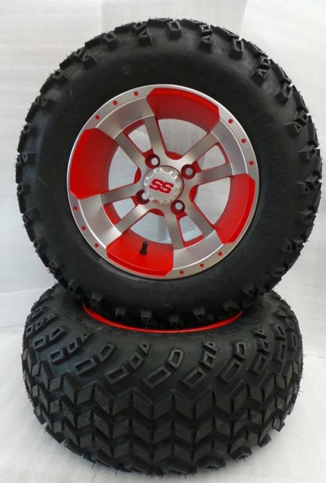 "Set of (4) 12"" Matte Red & silver Storm Trooper on 22"" All Terrain"