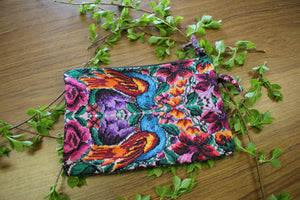 Medium Embroidered Pouch with Side pocket- Blue birds