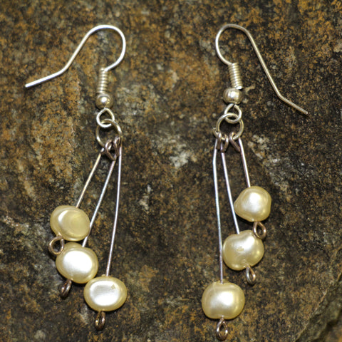 Triple Dangle Riverpearl Earrings