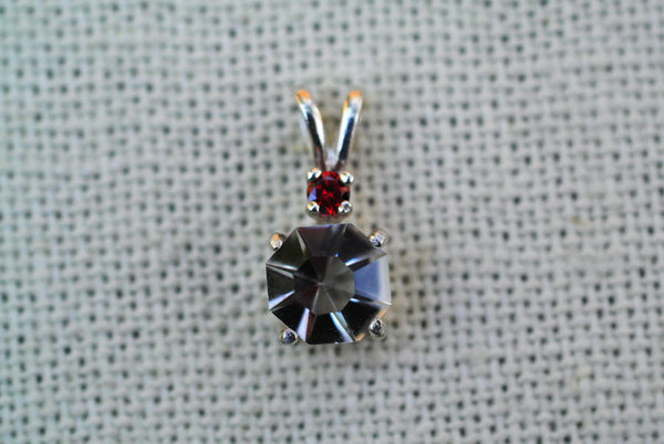 round gemstone recycled glass clear pendant red cubic zirconia accent sterling silver setting