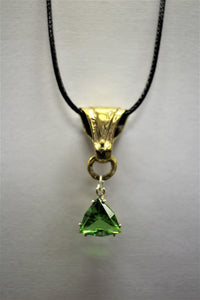 Green Trillion Gem with Brass Accent