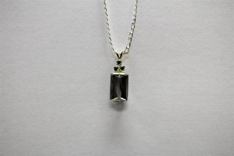 Smoky Rectangle with Green Accents Necklace