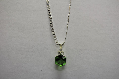 Green Hexagon Gem with Crystal Accents