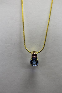 Round Blue Gem with Pink Accent Necklace
