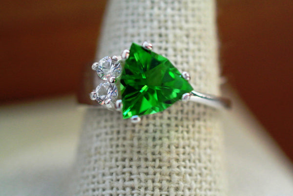 Emerald green trillion recycled haiti glass ring delicate sterling silver band cubic zirconia accent