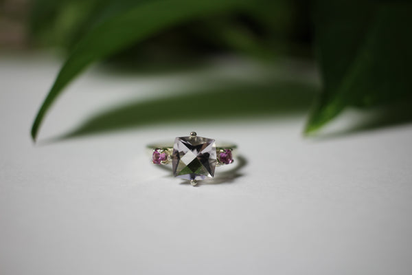 Crystal, square w/ pink accents ring