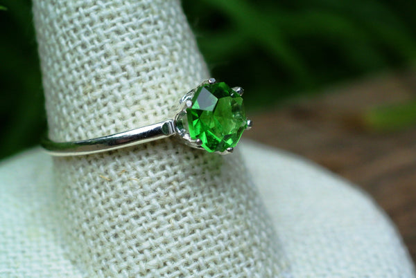 Emerald green recycled glass ring sterling silver band