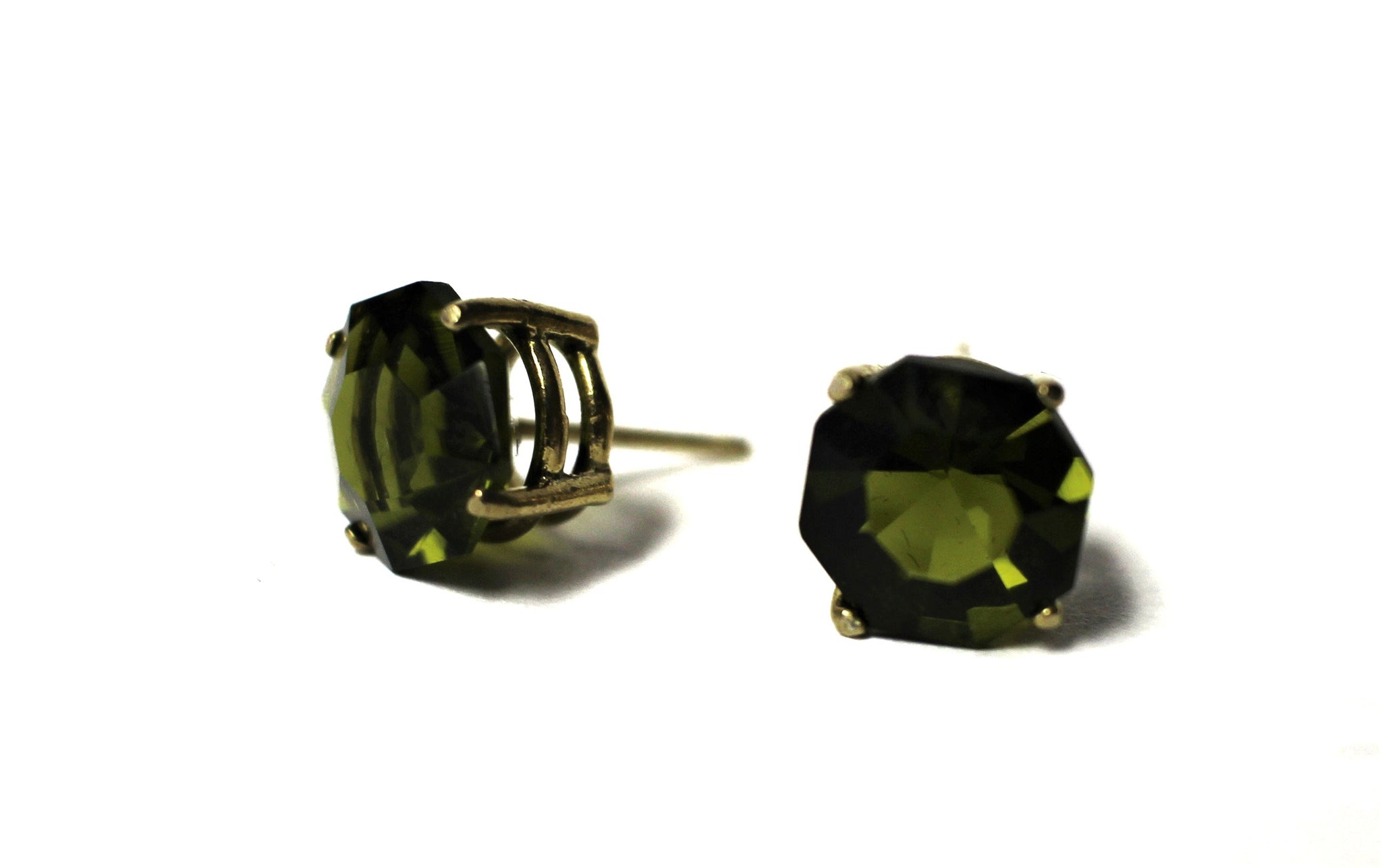 Upcycled Olive Green Stud Earrings