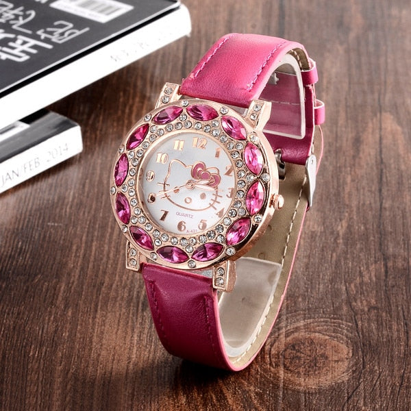 e74a6d863 ... Hello Kitty Watches Kids Watches Luxury Rhinestone Children Watch Cute  Cartoon Watch Baby Leather Strap Clock