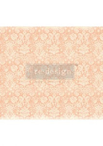 Decoupage Papers Peach Damask