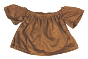 Suede off shoulder top - Camel