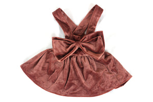Velvet Bow Suspender Skirt - Brown