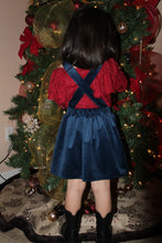 Load image into Gallery viewer, Velvet Bow Suspender Skirt - Blue