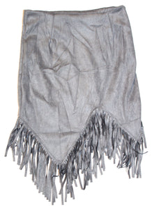 Fringe Suede Skirt - Grey