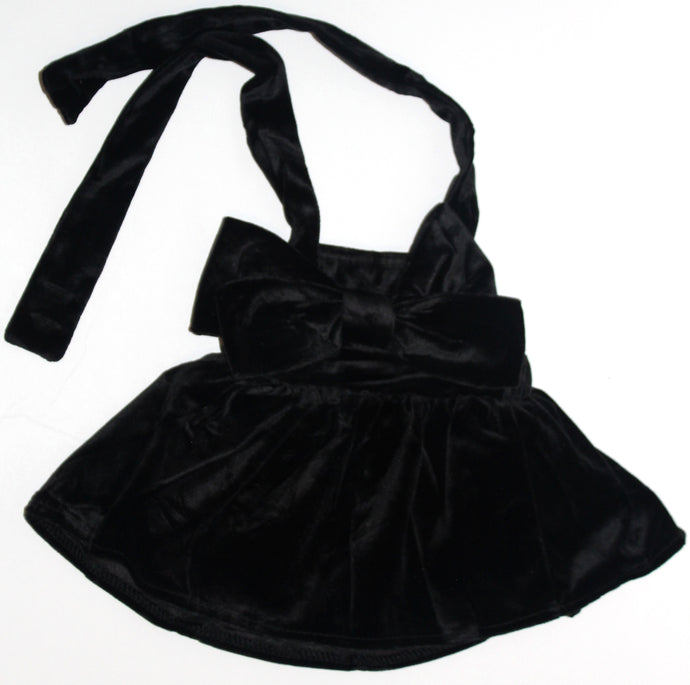 Velvet Bow Suspender skirt - Black