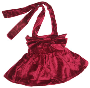 Velvet Bow Suspender Skirt - Wine