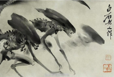 Sumi Aliens Chinese Ink And Wash Painting Sumie