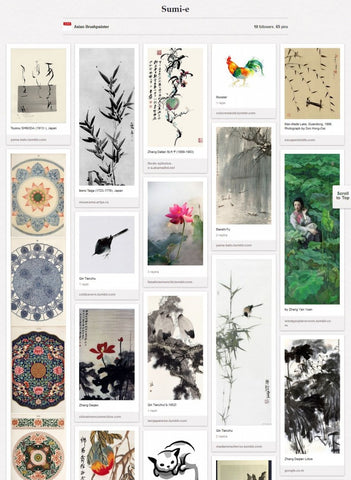 ab pinterest board sumi-e