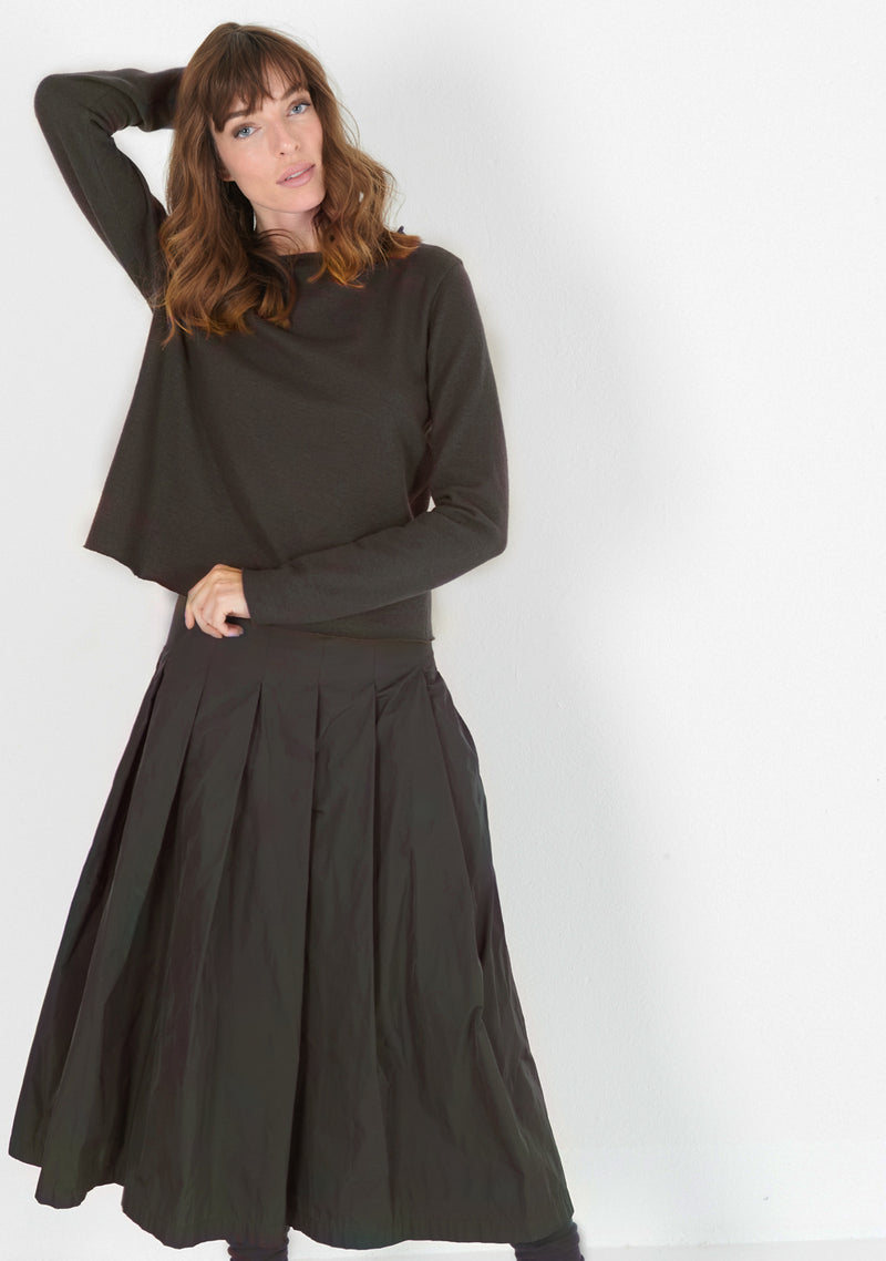 Pleats Skirt, heavy Taffeta, umbra