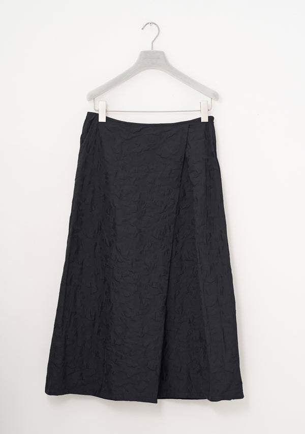 Skirt with Pleat, long, two- tone Taffeta, black