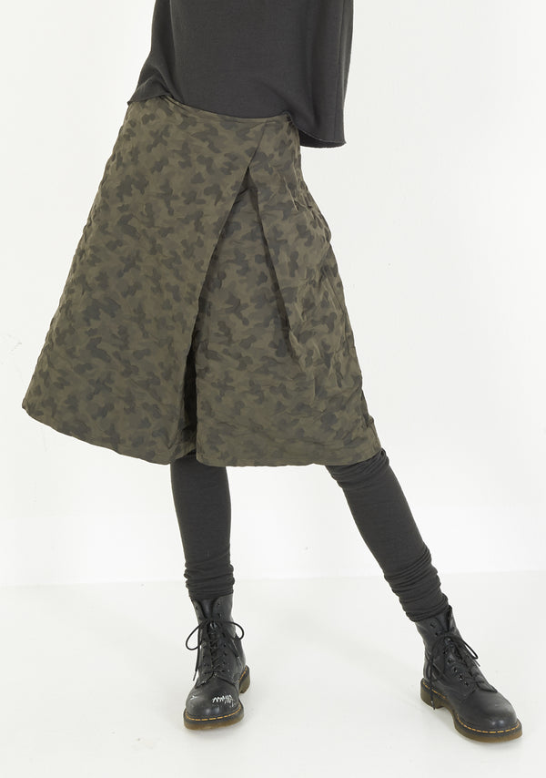 Skirt with Pleat, short, two-tone Taffeta, umbra
