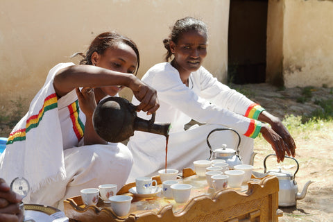 The traditional coffee ceremony in Ethiopia.