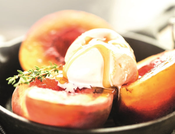 Grilled Peaches, Manuka Honey & Ice Cream