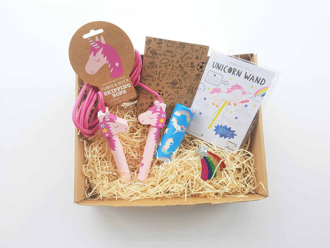 Unicorn skipping rope birthday gift box