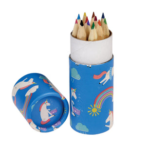 Unicorn colouring pencils in a tube