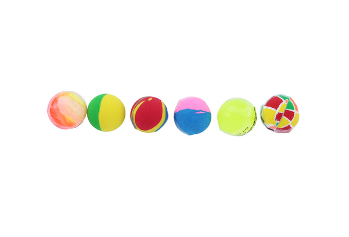 Row of colourful bouncy balls