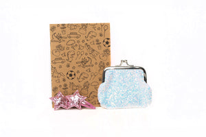 sparkle purse, star hair clips and notebook