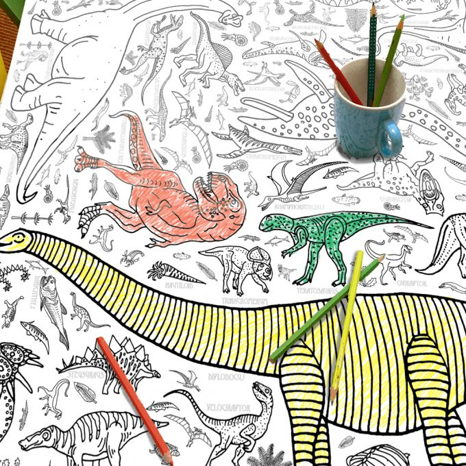 Colour-in Poster / tablecloth - Dinosaur