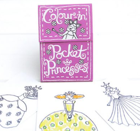 Colour-in pocket princesses