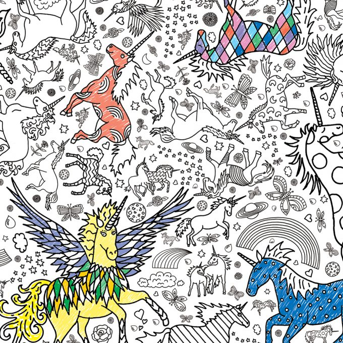 Colour in tablecloth/poster - Unicorn