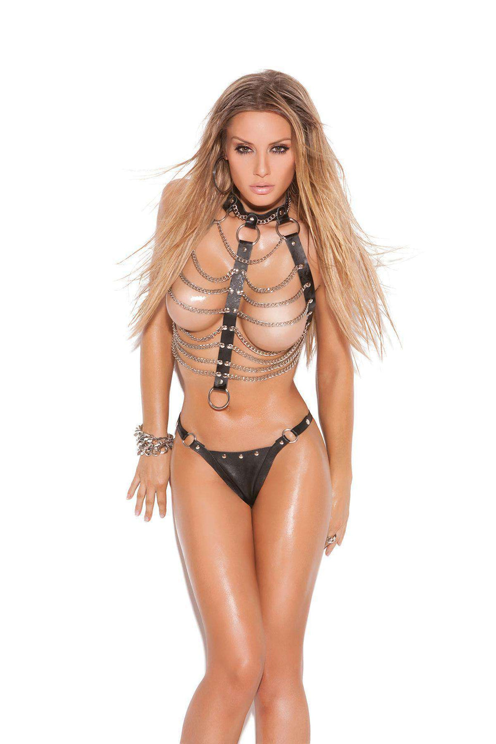 Leather and Chain Vest with Thong - PlayDivas.com