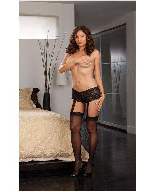 Stretch Lace Shorts W/attached Sheer Thigh High Stockings Black - PlayDivas.com