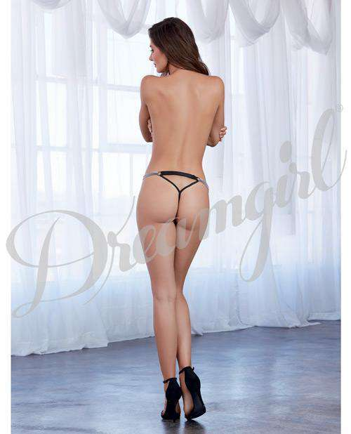 Metal Strapped G-string Black Xl - PlayDivas.com