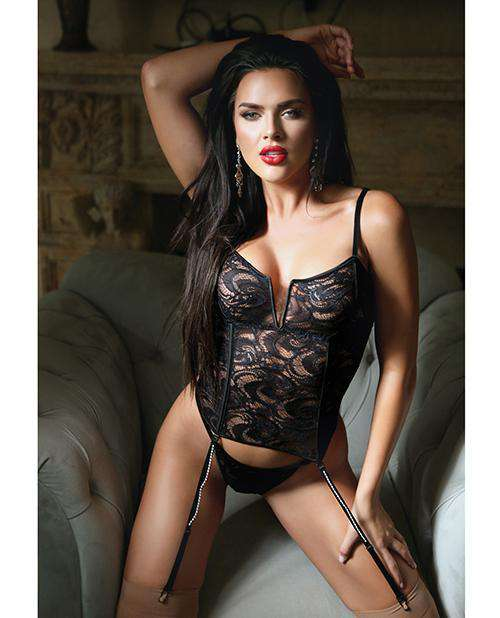 Fall Holiday Bustier W/bling Garters & Panty Black