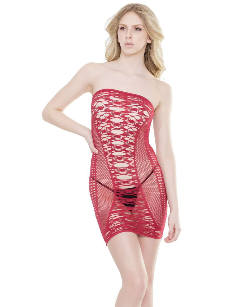 Laser Cutout Fishnet Tube Dress - PlayDivas.com