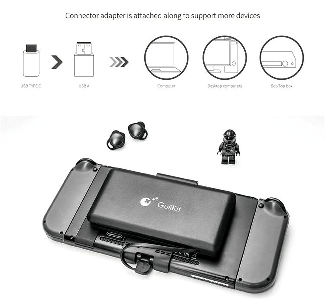 GuliKit ROUTE+ USB C Bluetooth Audio Transmitter for Nintendo Switch