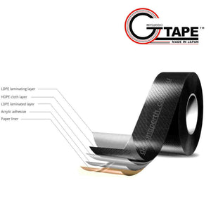 GTape 50mm Joist Protection Decking Tape. GT3404BK. Laminate layers with names.