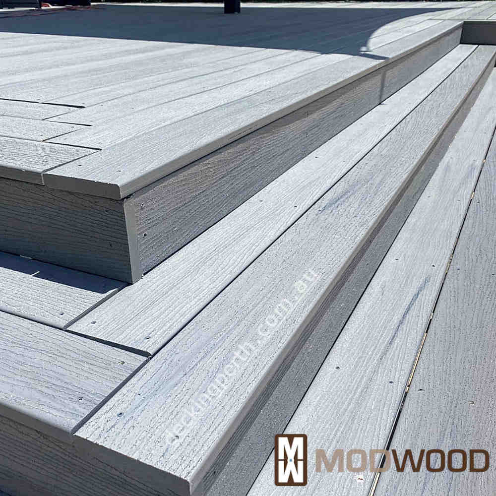 Modwood decking Magnetic Grey close up stair detail