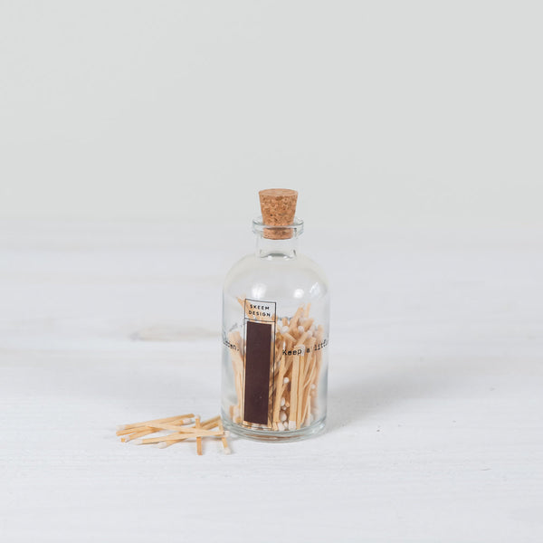 """keep a little fire burning"" apothecary bottle + matches"