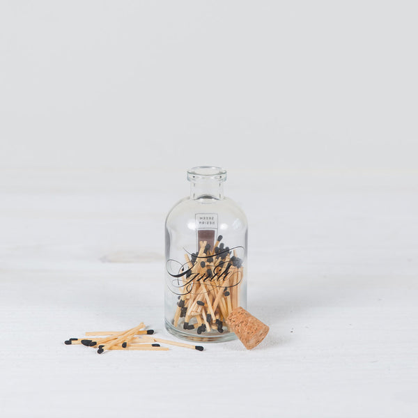 """ignite"" calligraphy apothecary bottle + matches"
