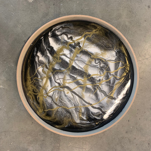 wood tray with black + gold resin