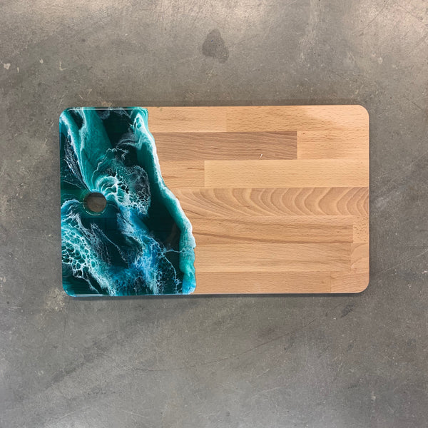 wood tray with teal resin