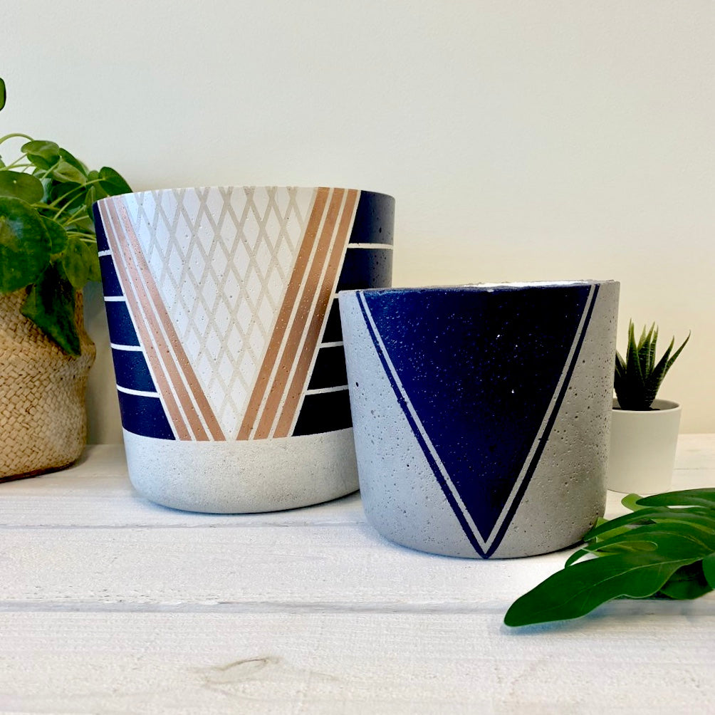 grey + navy triangle flower pot