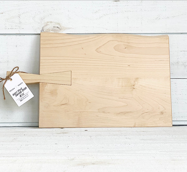 maple wood serving board - rectangle with handle